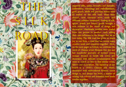 THE SILK ROAD - STYLING MAGAZINE - IMPERIAL SILKS, SATINS BROCADES AND DAMASKS, EMBROIDERY, TRIMMING