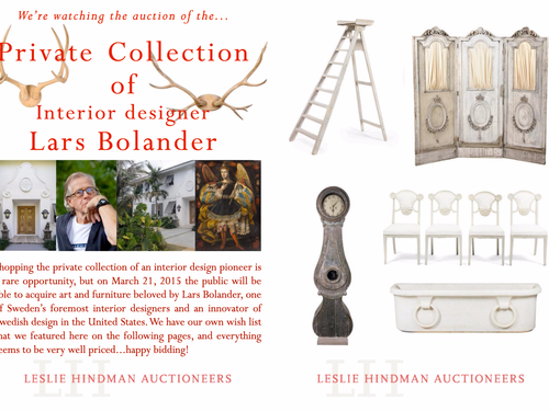 FABULOUS AUCTIONS - THE PRIVATE COLLECTION OF INTERIOR DESIGNER LARS BOLANDER GOES UNDER THE HAMMER