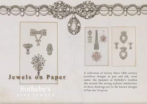 JEWELS ON PAPER - A COLLECTION OF TWENTY THREE BEAUTIFUL 18TH CENTURY JEWELLERY DESIGNS IN PEN &