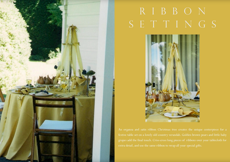 Styling a Christmas table, ribbons & bow tree.