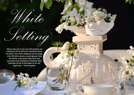 Styling a white table setting under a blossom tree in the Southern Highlands of NSW