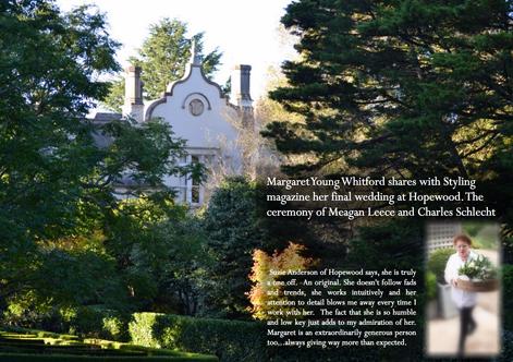 MARGARET YOUNG WHITFORD CREATES A BEAUTIFUL WEDDING  AT HOPEWOOD HOUSE, BOWRAL