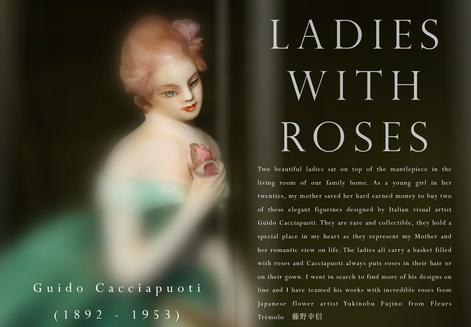 LADIES WITH ROSES - GUIDO CACCIAPUOTI, ITALIAN ARTIST (1892 - 1952)