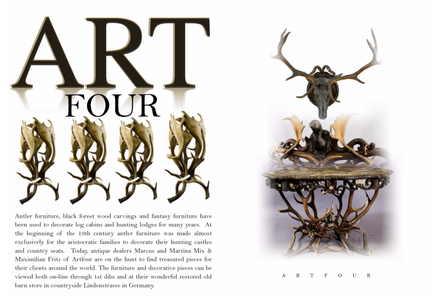 ART FOUR - ANTLER FURNITURE, BLACK FOREST WOOD CARVINGS AND FANTASY FURNITURE