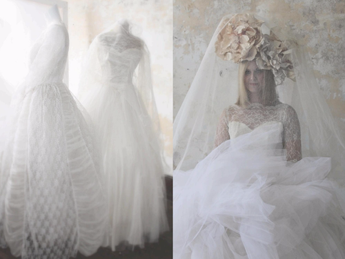 Styling Weddings - Vintage gowns and hand made flowers.