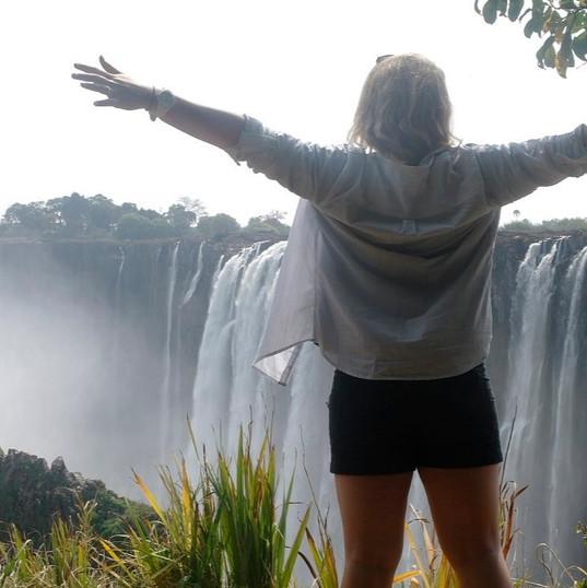 Dominique at Victoria Falls