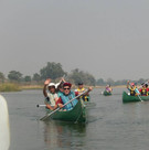Canoeing down the Zambezi River