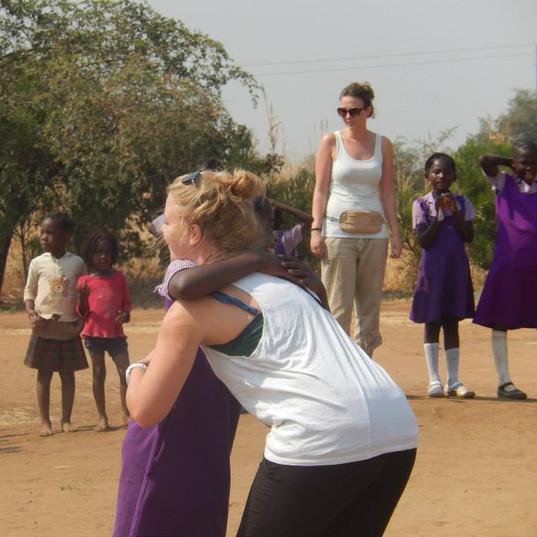 Playing with kids at Maanu Mwambi School