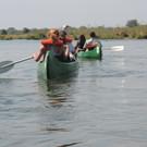 Kanoeing down the Zambezi River
