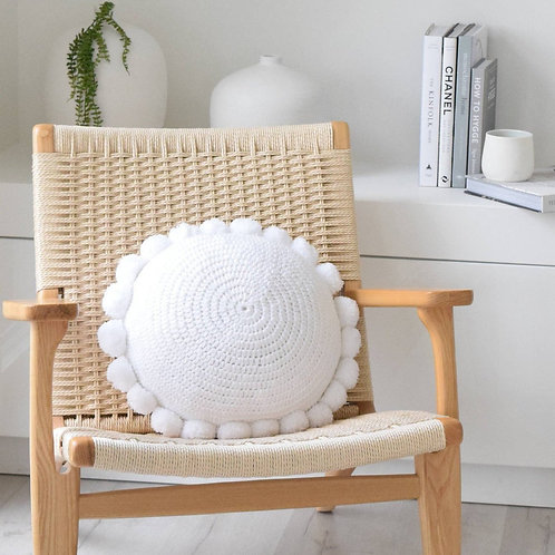 Round Pom Pom Cotton Cushion - Various Colours Available