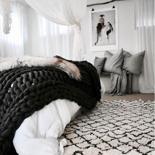 Merino Wool Chunky Knit Blanket - Charcoal