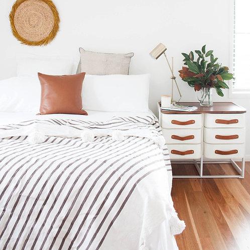 Beige Stripe Cotton Throw