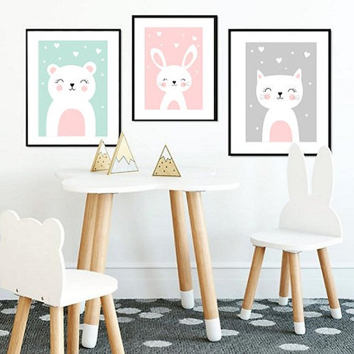 Animal Nursery Prints - Set of 3