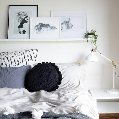 Round Pom Pom Cotton Cushion - Black