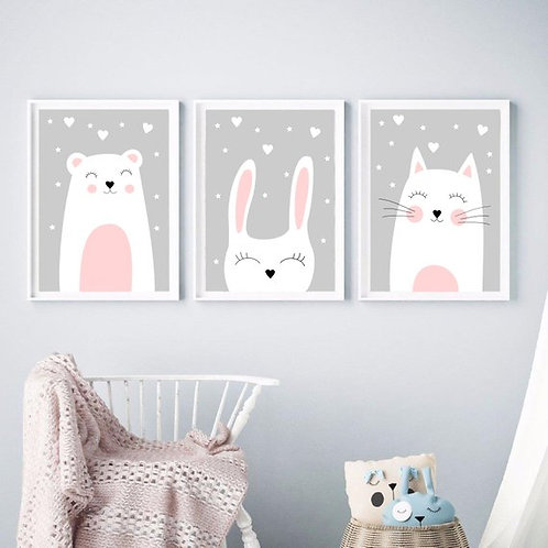 Søt Animal Prints - Set of 3