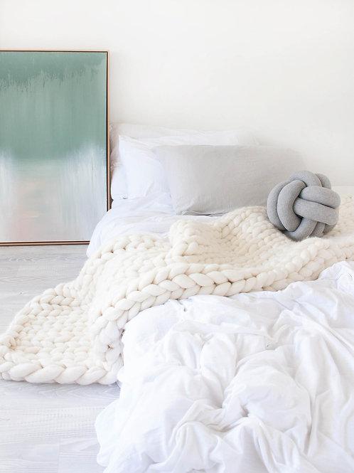 Merino Wool Chunky Knit Blanket - White