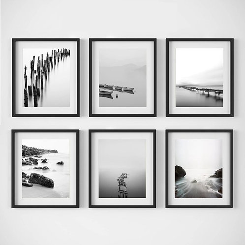 Monochrome Lake Prints - Set of 6