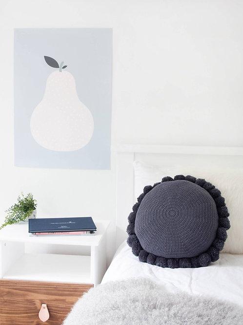 Round Pom Pom Cotton Cushion - Navy