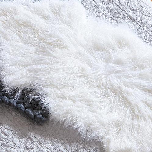 Mongolian Sheepskin Rug - Grey/White/Charcoal