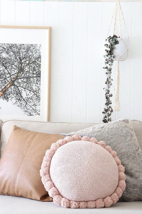 Round Pom Pom Cotton Cushion - Blush Pink