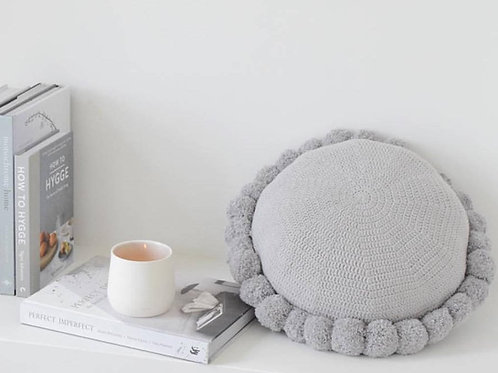 Round Pom Pom Cotton Cushion - Light Grey