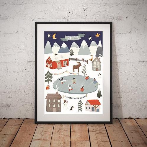 Vinter Landsby Print