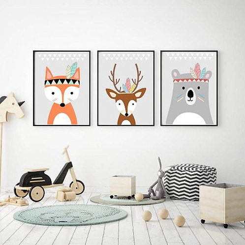 Woodland Animals Print - Set of 3