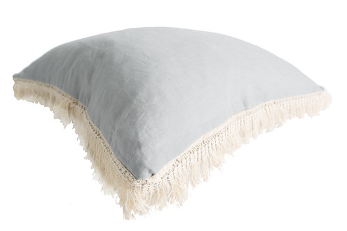 Linen Fringe Cushion- Grey