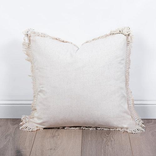 Linen Fringe Cushion- Beige