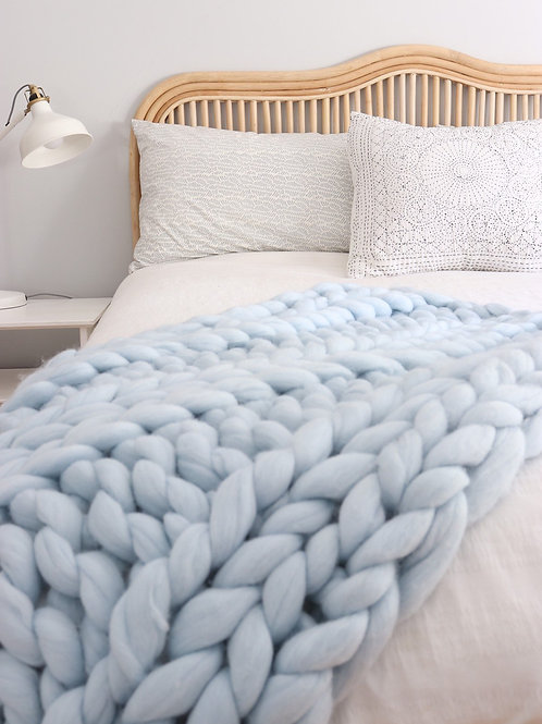 Merino Wool Chunky Knit Blanket - Powder Blue