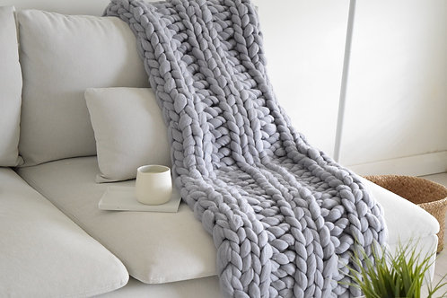 Merino Wool Chunky Knit Blanket - Smokey Grey