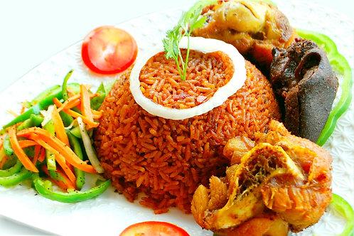 Berkies Turkey Jollof Rice with Goat