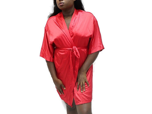 BeWicked Hot Pink Satin Robe with Side Pockets.