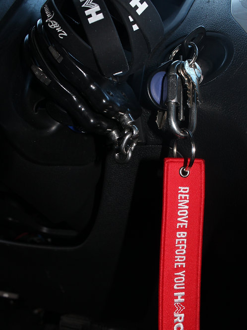 Remove Before You HERO Keychain