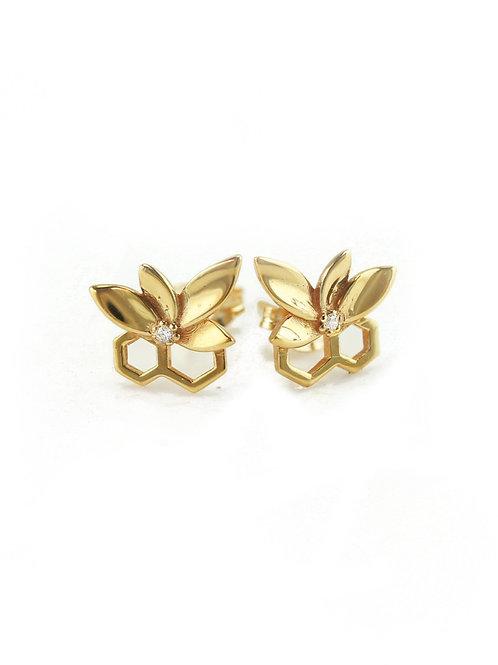 Gold Bee Flower Stud Earrings