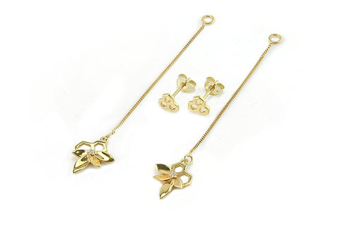 Gold Bee Flower Drops and Hex Studs