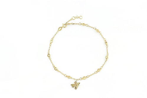 Gold Hexagonal Chain Anklet with Charm