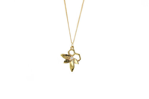 Gold Medium Bee Flower Necklace