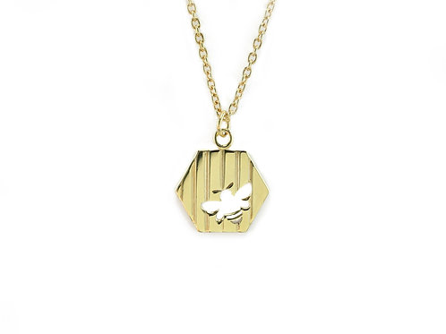 Gold Striped Bee Pendant
