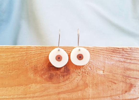 Cream Boob Drop Earrings with Brown Nipples