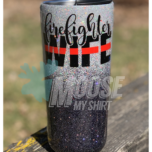 Firefighters Wife stainless steel glitter tumbler
