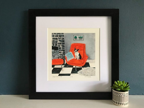 'Orange Swivel Chair' (with Edna the Boston Terrier) Giclee Print