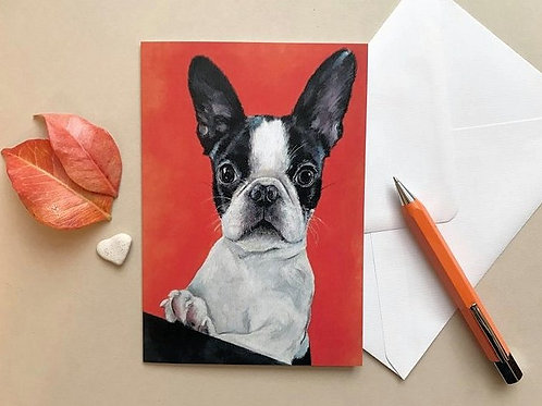 Boston Terrier Art Card