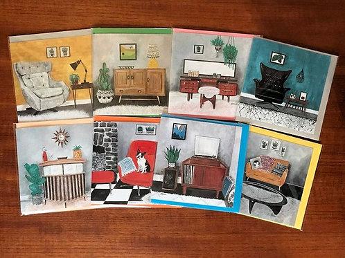 Pack of 8 Vintage Furniture Cards