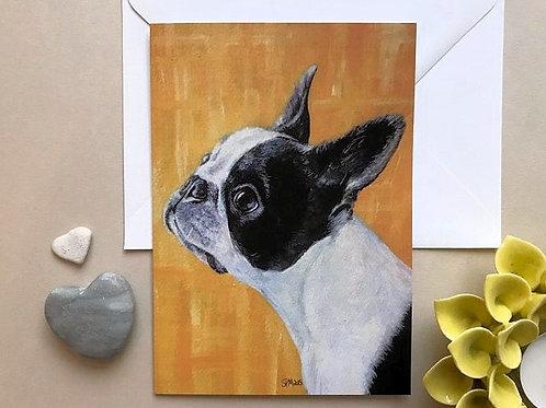 Boston Terrier Art Card