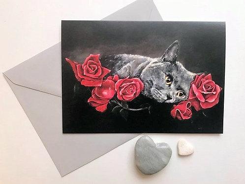 British Blue Cat Art Card