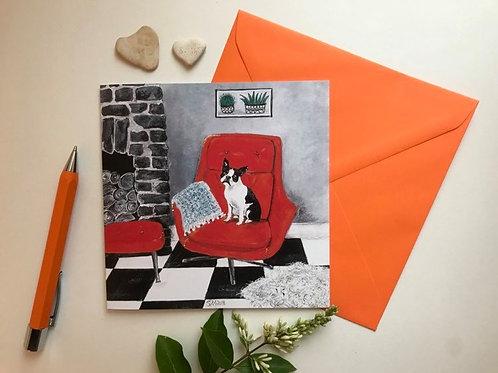 Boston Terrier & Vintage Chair Art Card