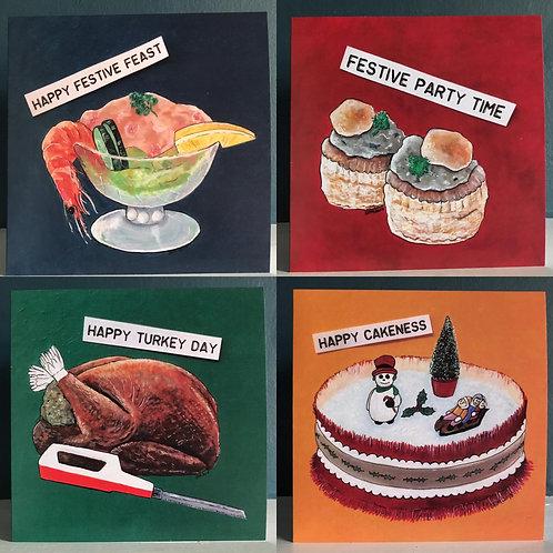 Pack of 4 Retro Festive Cards
