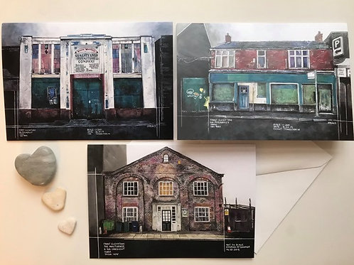 Pack of 3 Art Cards Featuring Three Derelict York Buildings