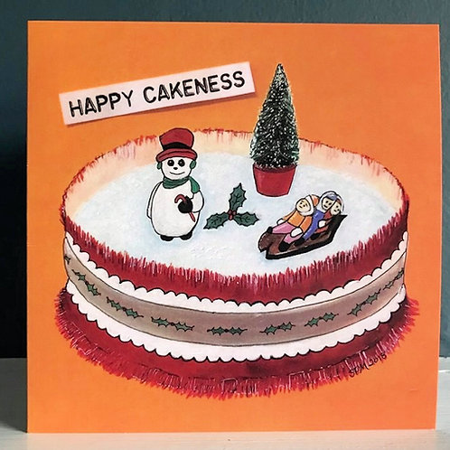 'Happy Cakeness'  - Vintage Festive Cake  Art Card